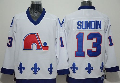 Quebec Nordiques #13 Mats Sundin White CCM Throwback Stitched NHL Jersey