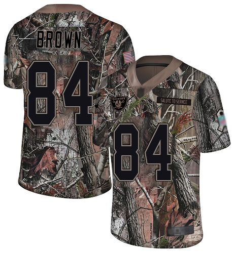 Raiders #84 Antonio Brown Camo Men's Stitched Football Limited Rush Realtree Jersey