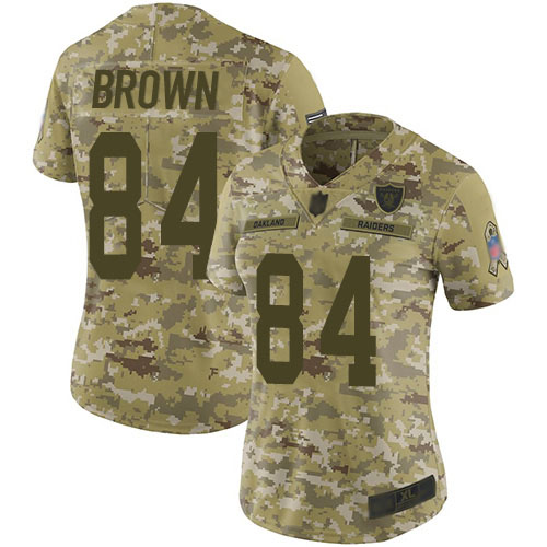 Raiders #84 Antonio Brown Camo Women's Stitched Football Limited 2018 Salute to Service Jersey
