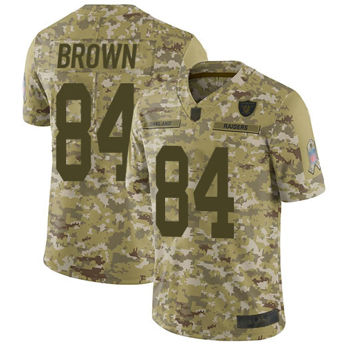 Raiders #84 Antonio Brown Camo Youth Stitched Football Limited 2018 Salute to Service Jersey
