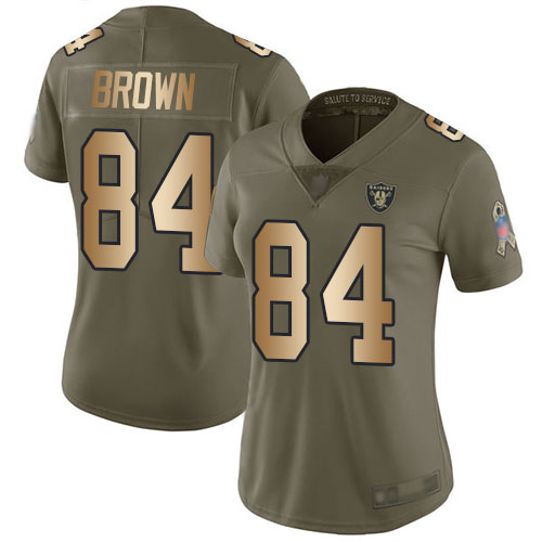 Raiders #84 Antonio Brown Olive Gold Women's Stitched Football Limited 2017 Salute to Service Jersey