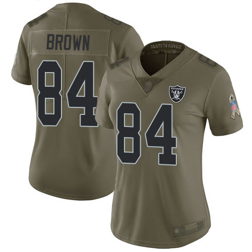 Raiders #84 Antonio Brown Olive Women's Stitched Football Limited 2017 Salute to Service Jersey