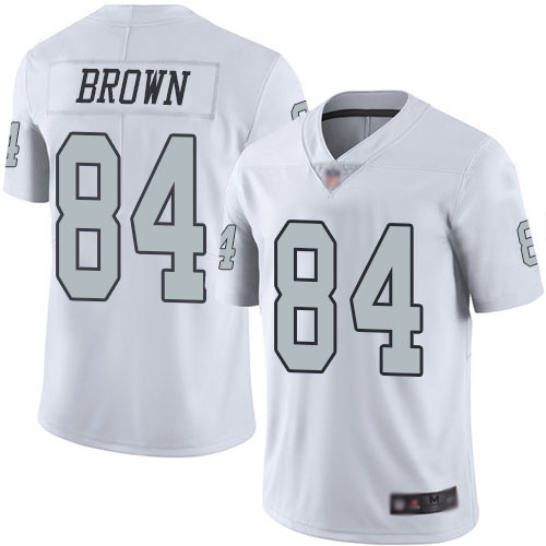 Raiders #84 Antonio Brown White Men's Stitched Football Limited Rush Jersey