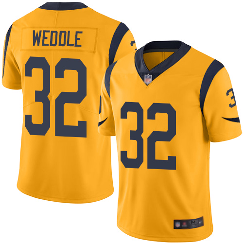 Rams #32 Eric Weddle Gold Men's Stitched Football Limited Rush Jersey