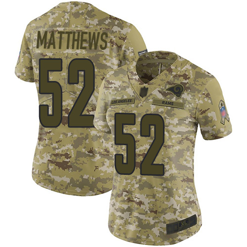 Rams #52 Clay Matthews Camo Women's Stitched Football Limited 2018 Salute to Service Jersey