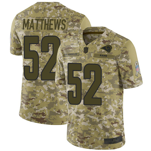 Rams #52 Clay Matthews Camo Youth Stitched Football Limited 2018 Salute to Service Jersey