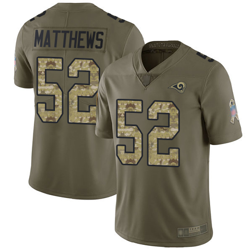 Rams #52 Clay Matthews Olive Camo Youth Stitched Football Limited 2017 Salute to Service Jersey