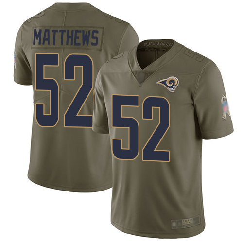 Rams #52 Clay Matthews Olive Men's Stitched Football Limited 2017 Salute To Service Jersey