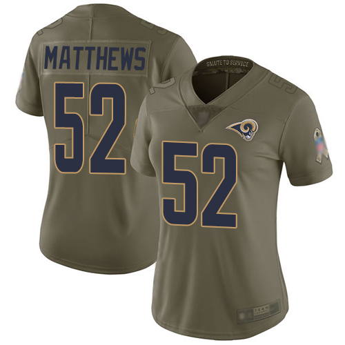 Rams #52 Clay Matthews Olive Women's Stitched Football Limited 2017 Salute to Service Jersey