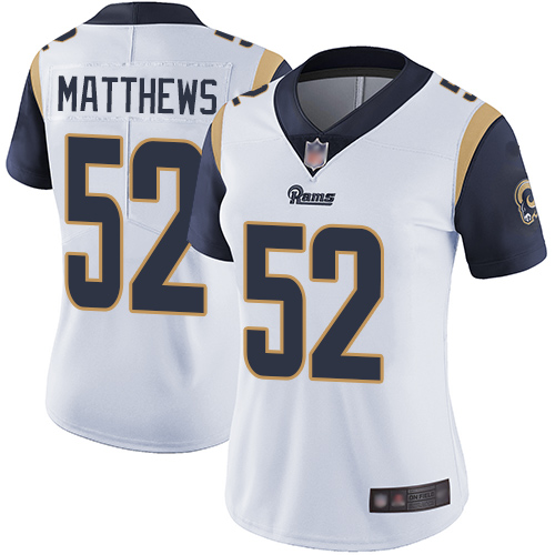 Rams #52 Clay Matthews White Women's Stitched Football Vapor Untouchable Limited Jersey