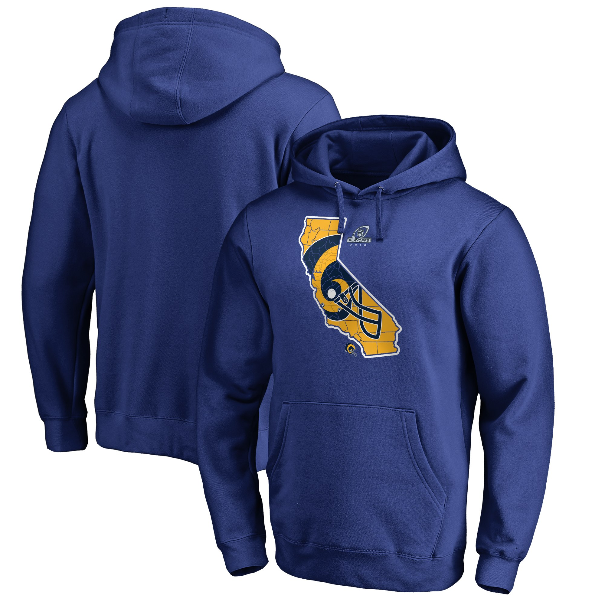 Rams Blue 2018 NFL Playoffs Men's Pullover Hoodie