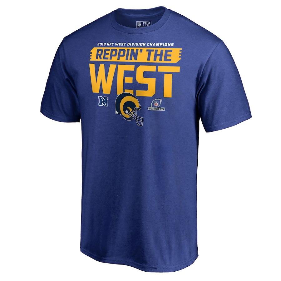 Rams Blue 2018 NFL Playoffs Reppin' The West Men's T-Shirt