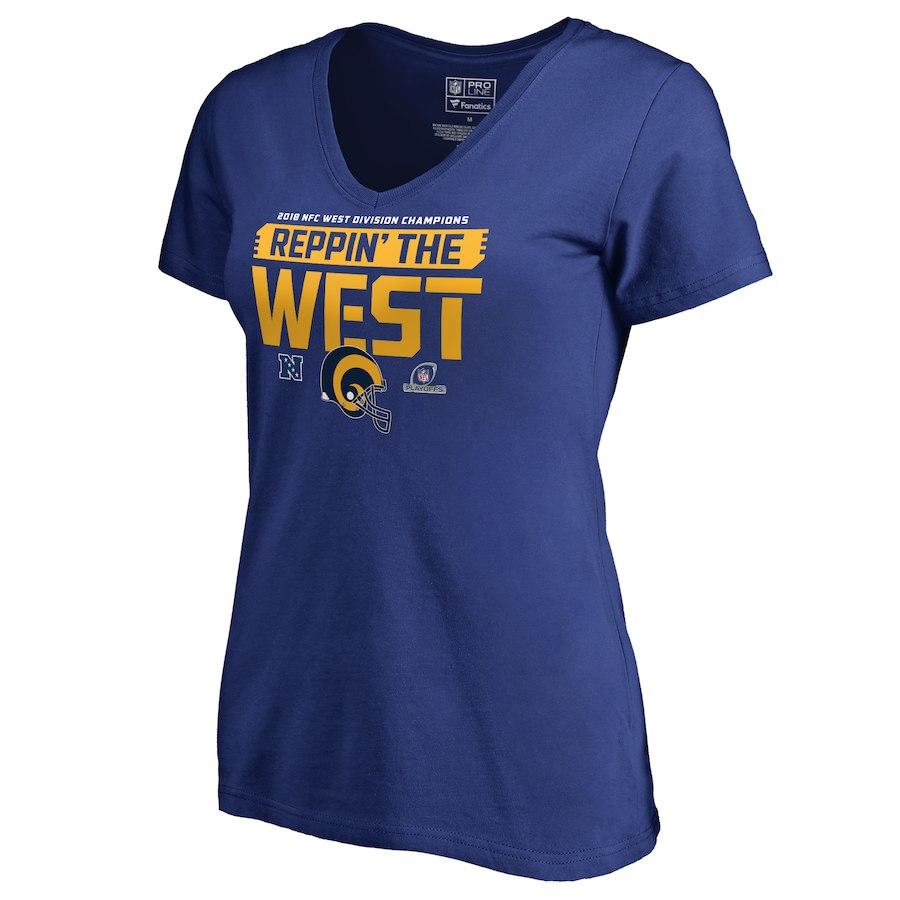 Rams Blue Women's 2018 NFL Playoffs Reppin' The West T-Shirt