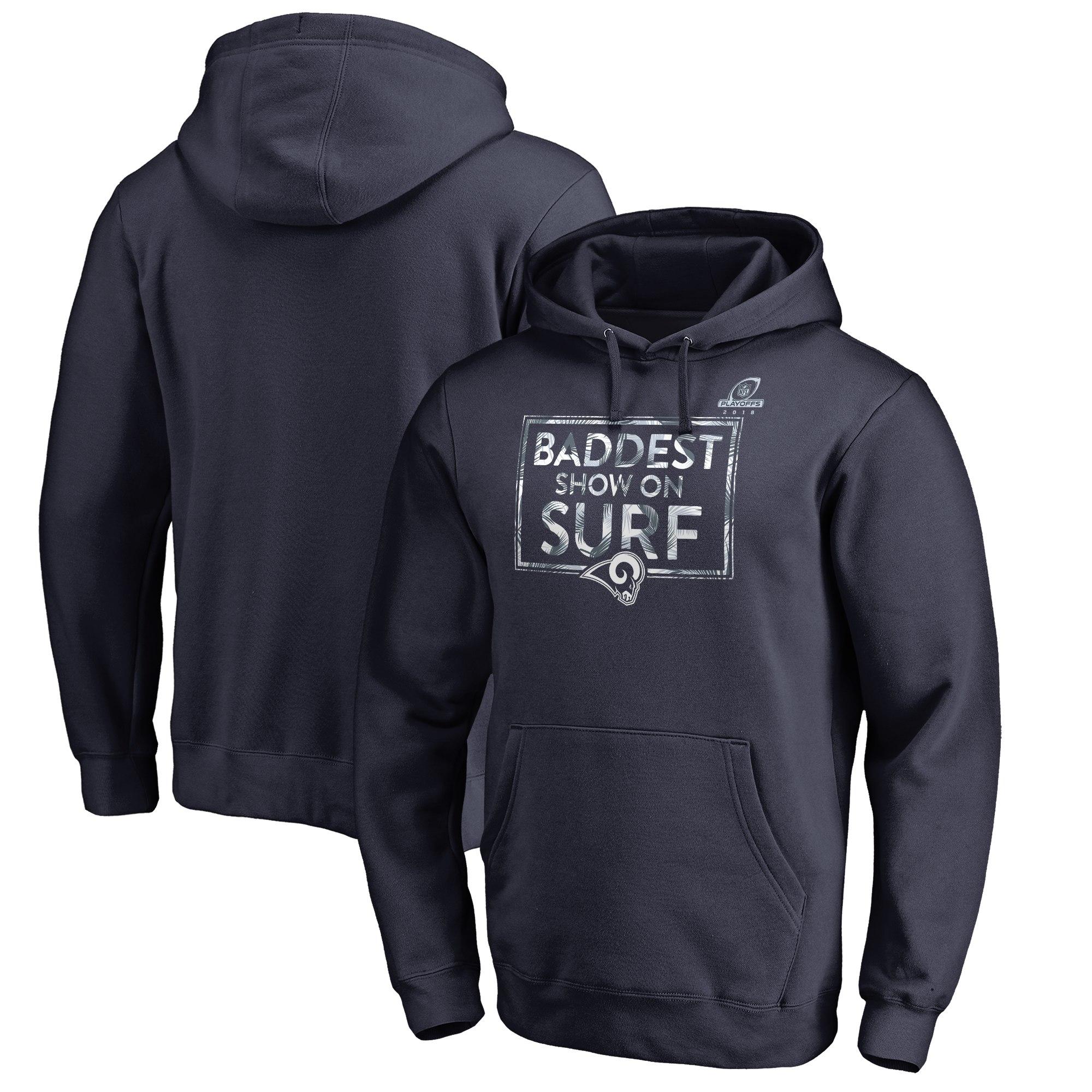 Rams Navy 2018 NFL Playoffs Baddest Show On Surf Men's Pullover Hoodie