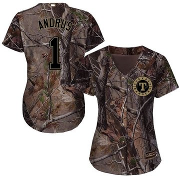 Rangers #1 Elvis Andrus Camo Realtree Collection Cool Base Women's Stitched Baseball Jersey