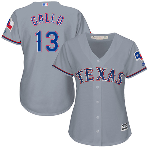 Rangers #13 Joey Gallo Grey Road Women's Stitched Baseball Jersey