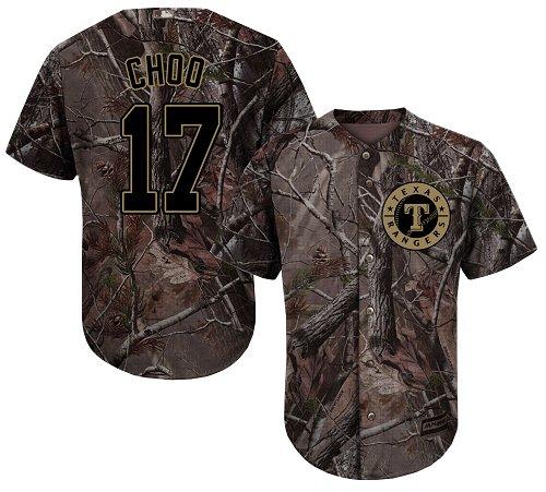 Rangers #17 Shin-Soo Choo Camo Realtree Collection Cool Base Stitched Baseball Jersey