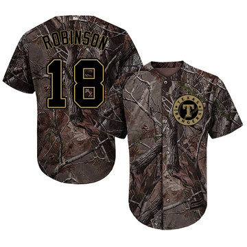 Rangers #18 Drew Robinson Camo Realtree Collection Cool Base Stitched Baseball Jersey