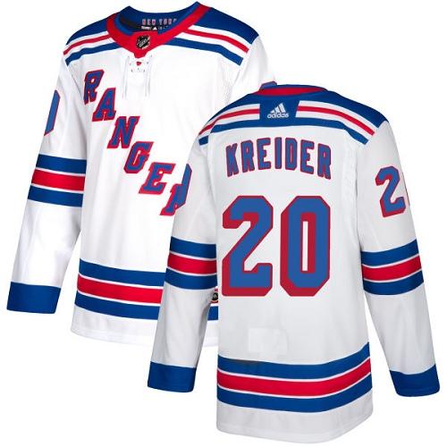 Rangers #20 Chris Kreider White Road Authentic Stitched Hockey Jersey