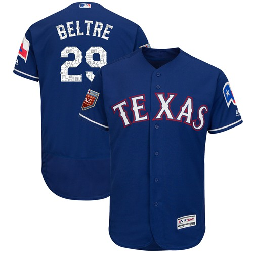 Rangers #29 Adrian Beltre Blue 2018 Spring Training Authentic Flex Base Stitched MLB Jersey