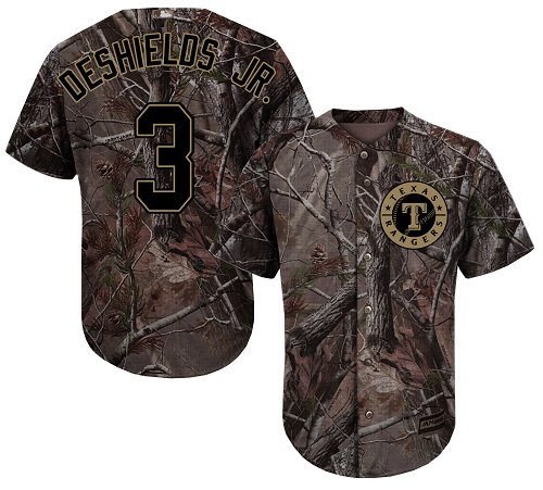 Rangers #3 Delino DeShields Jr. Camo Realtree Collection Cool Base Stitched Baseball Jersey