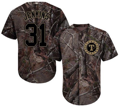 Rangers #31 Ferguson Jenkins Camo Realtree Collection Cool Base Stitched Baseball Jersey