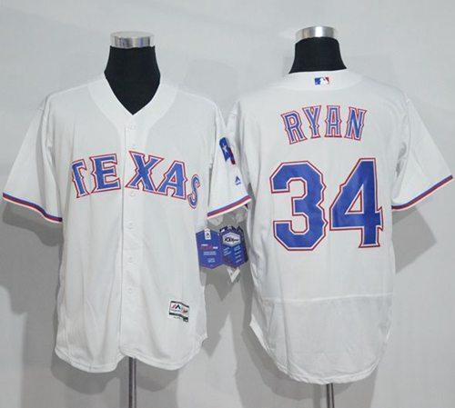 Rangers #34 Nolan Ryan White Flexbase Authentic Collection Stitched MLB Jersey