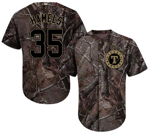 Rangers #35 Cole Hamels Camo Realtree Collection Cool Base Stitched Youth Baseball Jersey