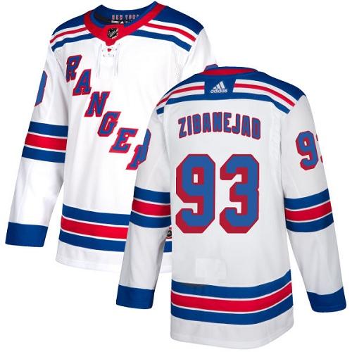 Rangers #93 Mika Zibanejad White Road Authentic Stitched Hockey Jersey