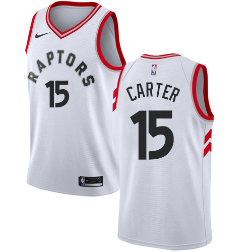 Raptors #15 Vince Carter White Basketball Swingman Association Edition Jersey