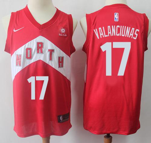 Raptors #17 Jonas Valanciunas Red Basketball Swingman Earned Edition Jersey
