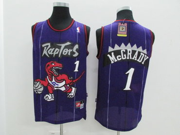 Raptors 1 Tracy McGrady Purple Hardwood Classics Jersey