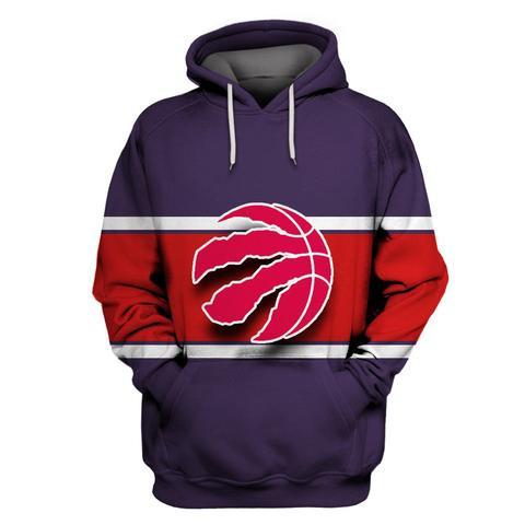 Raptors Purple All Stitched Hooded Sweatshirt