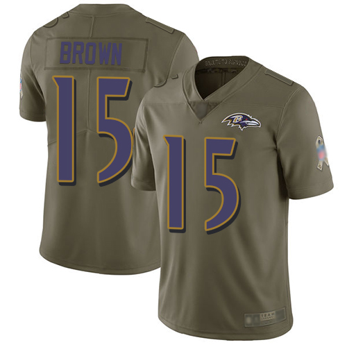 Ravens #15 Marquise Brown Olive Men's Stitched Football Limited 2017 Salute To Service Jersey