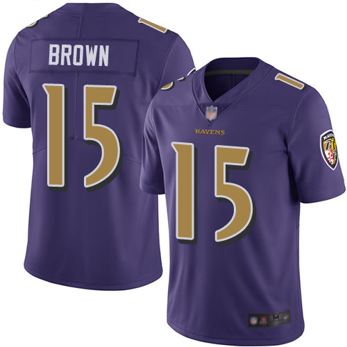 Ravens #15 Marquise Brown Purple Men's Stitched Football Limited Rush Jersey