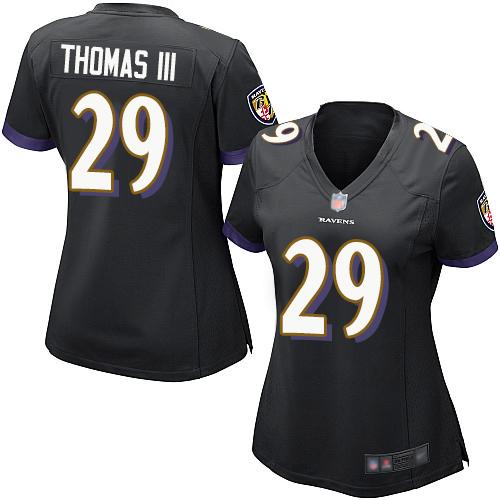 Ravens #29 Earl Thomas III Black Alternate Women's Stitched Football New Elite Jersey