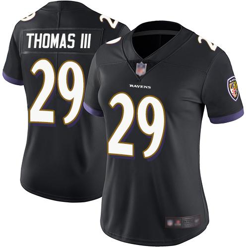 Ravens #29 Earl Thomas III Black Alternate Women's Stitched Football Vapor Untouchable Limited Jersey
