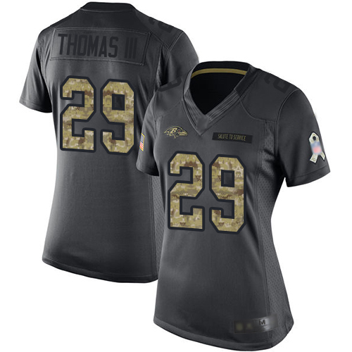 Ravens #29 Earl Thomas III Black Women's Stitched Football Limited 2016 Salute to Service Jersey