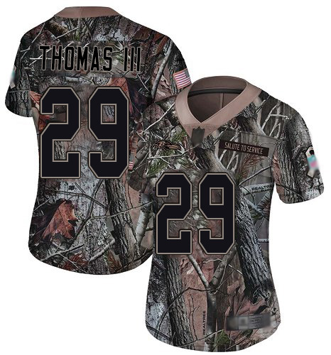 Ravens #29 Earl Thomas III Camo Women's Stitched Football Limited Rush Realtree Jersey
