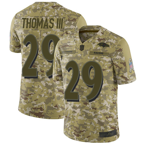 Ravens #29 Earl Thomas III Camo Youth Stitched Football Limited 2018 Salute to Service Jersey