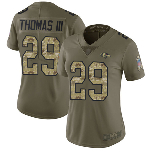 Ravens #29 Earl Thomas III Olive Camo Women's Stitched Football Limited 2017 Salute to Service Jersey