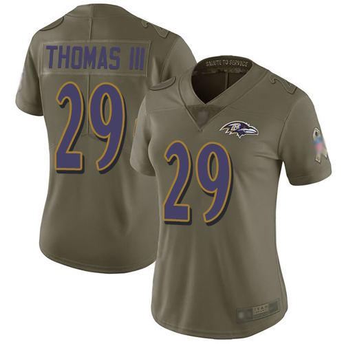 Ravens #29 Earl Thomas III Olive Women's Stitched Football Limited 2017 Salute to Service Jersey
