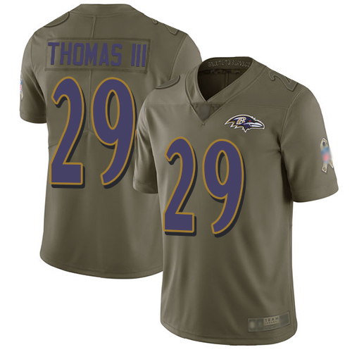 Ravens #29 Earl Thomas III Olive Youth Stitched Football Limited 2017 Salute to Service Jersey