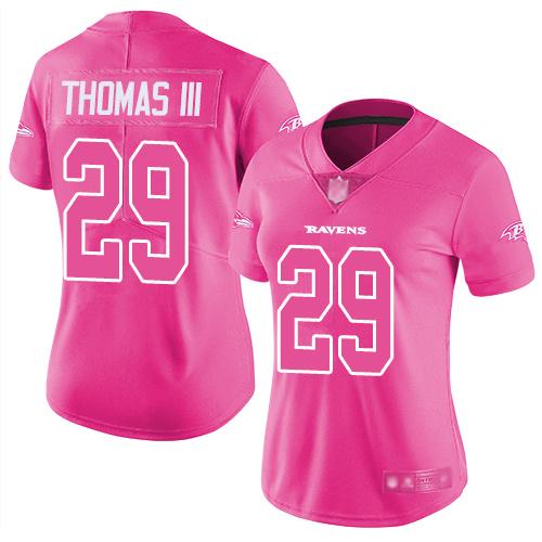 Ravens #29 Earl Thomas III Pink Women's Stitched Football Limited Rush Fashion Jersey