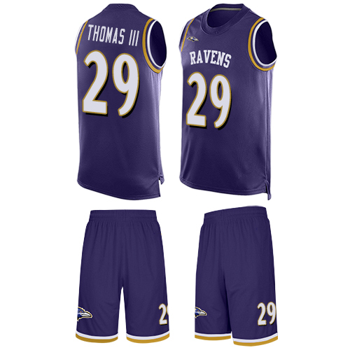 Ravens #29 Earl Thomas III Purple Team Color Men's Stitched Football Limited Tank Top Suit Jersey