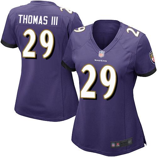 Ravens #29 Earl Thomas III Purple Team Color Women's Stitched Football New Elite Jersey