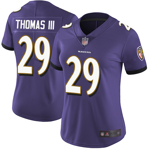 Ravens #29 Earl Thomas III Purple Team Color Women's Stitched Football Vapor Untouchable Limited Jersey