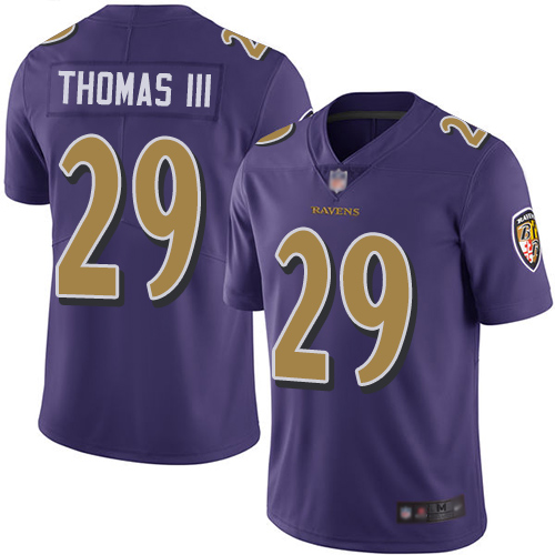 Ravens #29 Earl Thomas III Purple Youth Stitched Football Limited Rush Jersey