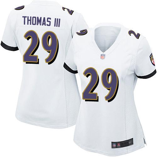 Ravens #29 Earl Thomas III White Women's Stitched Football New Elite Jersey