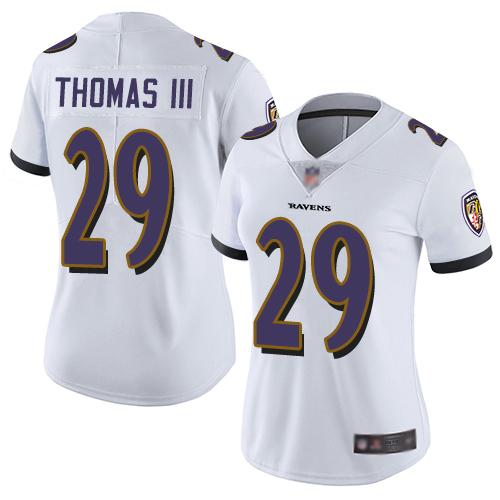Ravens #29 Earl Thomas III White Women's Stitched Football Vapor Untouchable Limited Jersey